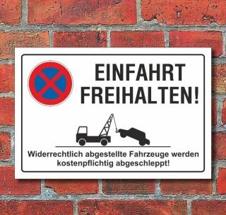 Schild Parkverbot, Halteverbot, Einfahrt freihalten, 3 mm Alu-Verbund
