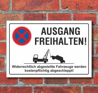 Schild Parkverbot, Halteverbot, Ausgang freihalten, 3 mm Alu-Verbund