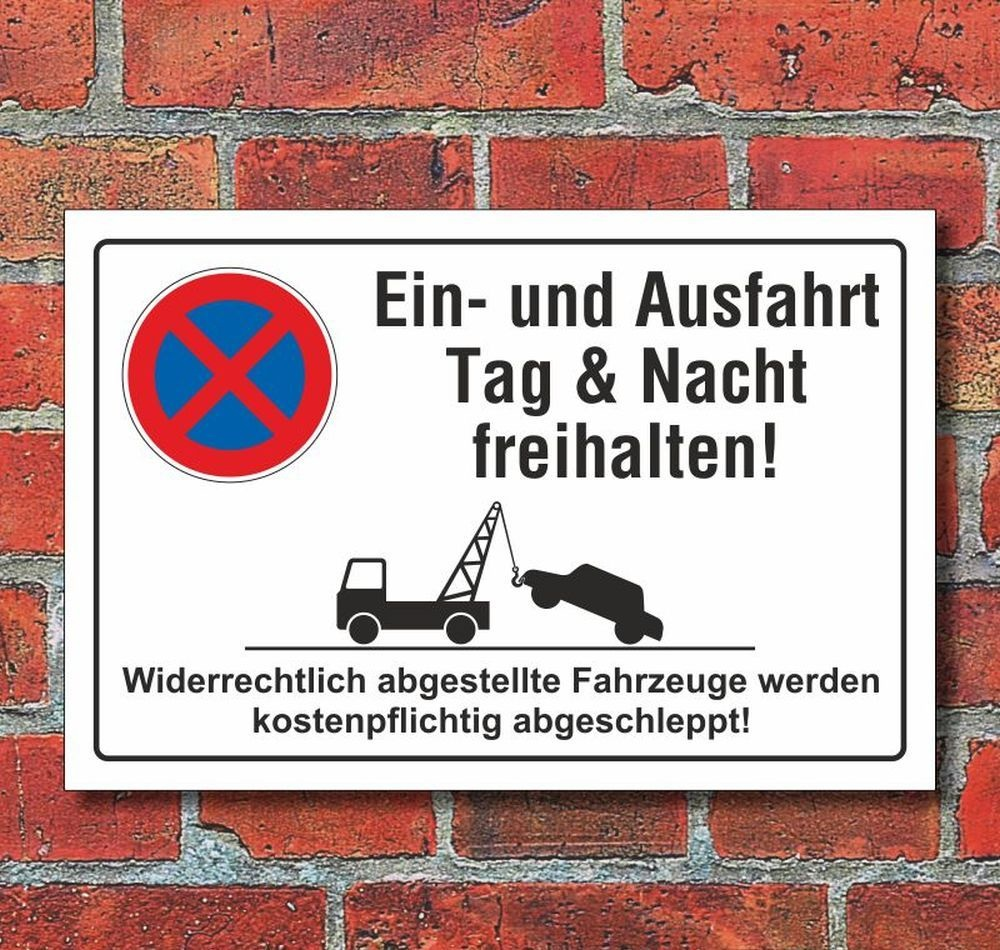 Klebeschild ALU oder PVC-Schild o Querformat 3 Größen Ausfahrt freihalten!