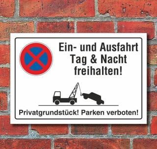 Schild Parkverbot, Halteverbot, Ein- und Ausfahrt freihalten, Privat, 3 mm Alu-Verbund