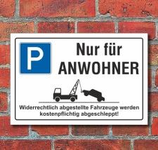 Schild Parkverbot, Nur für Anwohner, 3 mm...