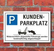 Schild Parkplatz, Kundenparkplatz, 3 mm Alu-Verbund 300 x...