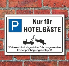 Schild Parkplatz, Hotelgäste, 3 mm Alu-Verbund 300 x...