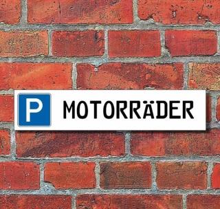 """Schild Parkplatz """"Motorräder"""" - 3 mm Alu-Verbund - 52 x 11 cm"""