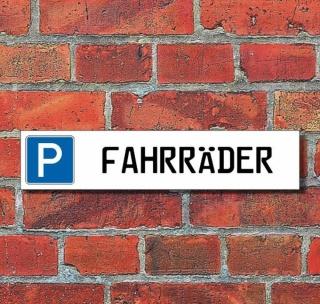 """Schild Parkplatz """"Fahrräder"""" - 3 mm Alu-Verbund - 52 x 11 cm"""