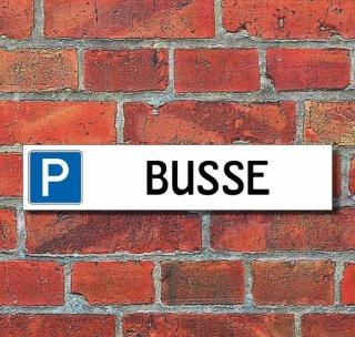 """Schild Parkplatz """"Busse"""" - 3 mm Alu-Verbund - 52 x 11 cm"""