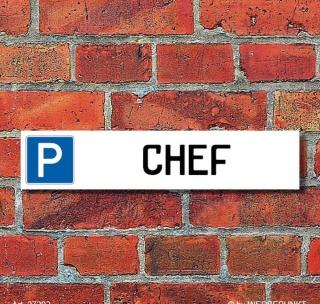 """Schild Parkplatz """"Chef"""" - 3 mm Alu-Verbund - 52 x 11 cm"""