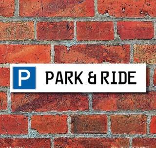 """Schild Parkplatz """"Park & Ride"""" - 3 mm Alu-Verbund - 52 x 11 cm"""