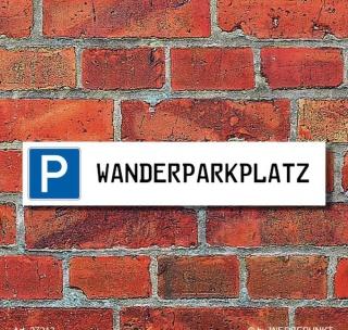 """Schild Parkplatz """"Wanderparkplatz"""" - 3 mm Alu-Verbund - 52 x 11 cm"""
