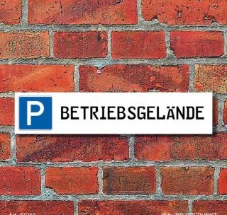 """Schild Parkplatz """"Betriebsgelände"""" - 3 mm Alu-Verbund - 52 x 11 cm"""