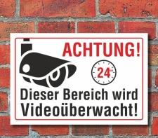 Schild Achtung dieser Bereich wird Videoüberwacht, 3...