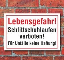 Schild Lebensgefahr! Schlittschuhlaufen verboten, 3 mm...
