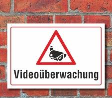 Schild Videoüberwachung, 3 mm Alu-Verbund 450 x 300 mm