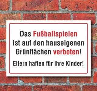 Schild Fußballspielen verboten, Grünfläche, 3 mm Alu-Verbund