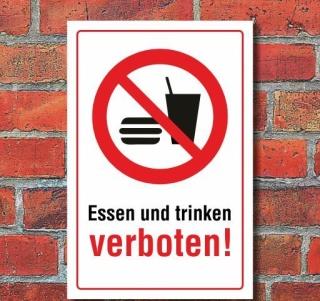 Schild Essen und trinken verboten, 3 mm Alu-Verbund
