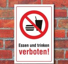 Schild Essen und trinken verboten, 3 mm Alu-Verbund 300 x...