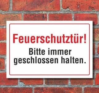 Schild Feuerschutztür - Bitte immer geschlossen halten, 3 mm Alu-Verbund