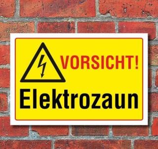 Schild Vorsicht - Elektrozaun, 3 mm Alu-Verbund