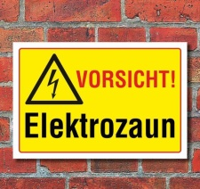 Schild Vorsicht - Elektrozaun, 3 mm Alu-Verbund 300 x 200 mm