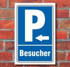 Schild Parken, Parkplatz, Besucher, Pfeil links, 3 mm...