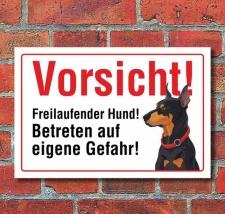"""Vorsicht """"Freilaufend"""", Dobermann, Hund,..."""