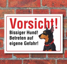 """Vorsicht """"Bissig"""", Dobermann, Hund, Schild,..."""