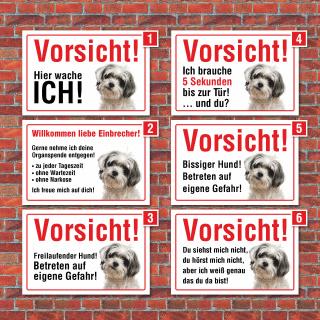 """Vorsicht """"Hier wache ich"""", Bolonka, Hund, Schild, Hinweis, 3 mm Alu-Verbund"""