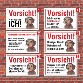 """Vorsicht """"Hier wache ich"""", Dackel, Hund, Schild, Hinweis, 3 mm Alu-Verbund"""