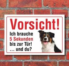 """Vorsicht """"5 Sekunden"""", Border Collie, Hund,..."""