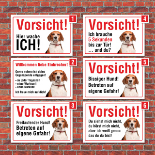 """Vorsicht """"Hier wache ich"""", Beagle, Hund, Schild, Hinweis, 3 mm Alu-Verbund"""
