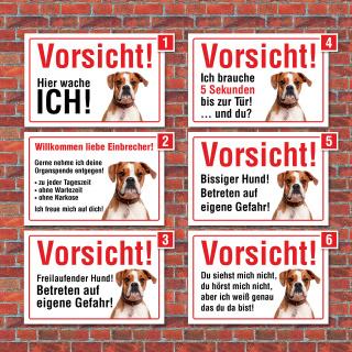 """Vorsicht """"Hier wache ich"""", Boxer, Hund, Schild, Hinweis, 3 mm Alu-Verbund"""