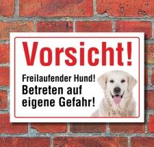 """Vorsicht """"Freilaufend"""", Golden Retriever, Hund,..."""