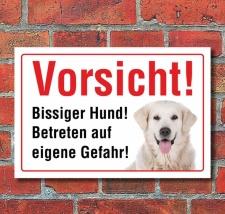 """Vorsicht """"Bissig"""", Golden Retriever, Hund,..."""