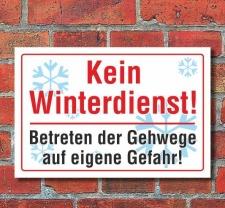 """Schild """"Kein Winterdienst"""", Gehweg, 3 mm..."""