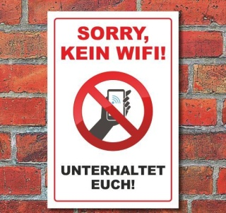 """Schild """"Kein WiFi"""", 3 mm Alu-Verbund"""