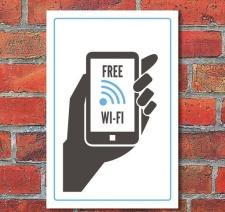"""Schild """"Free WiFi"""", 3 mm Alu-Verbund"""