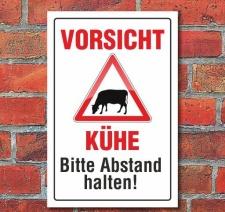 Schild Vorsicht Kühe, 3 mm Alu-Verbund 450 x 300 mm