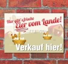 Schild Frische Eier vom Lande, 3 mm Alu-Verbund Motiv 1...