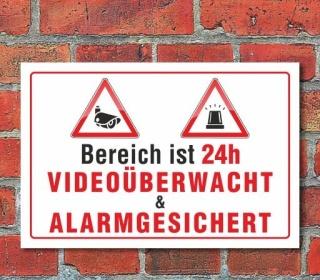 Schild Videoüberwacht & Alarmgesichert, 3 mm Alu-Verbund