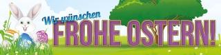 """Werbebanner, Ostern, Plane """"Frohe Ostern"""" mit Ösen"""