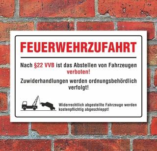 """Schild """"Feuerwehrzufahrt mit Bild"""", Gehweg, 3 mm Alu-Verbund"""