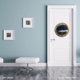 "Türtapete ""Bullauge"", Türposter, selbstklebend 2er Set 400 x 400 mm"