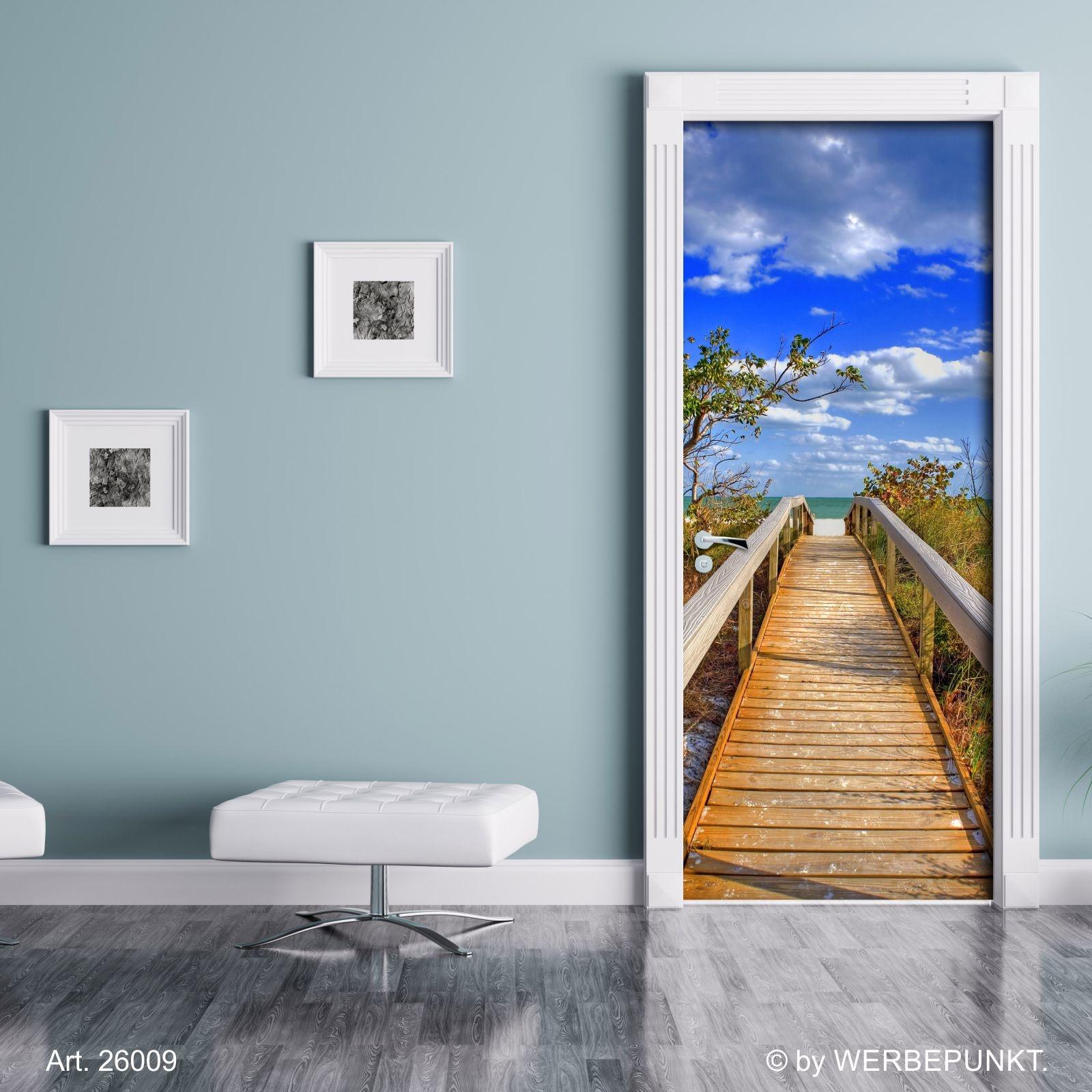 t rtapete br cke zum strand t rposter selbstklebend 2050 x 880 mm 27 49. Black Bedroom Furniture Sets. Home Design Ideas