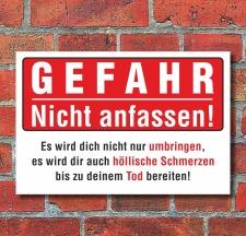 """Schild """"Gefahr nicht anfassen"""", 3 mm Alu-Verbund"""