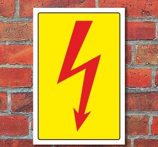 Schild Elektro Pfeil, Hochspannung, Strom 3 mm Alu-Verbund