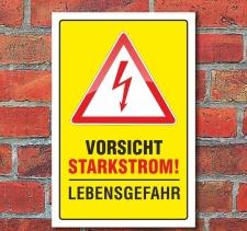 """Schild """"Vorsicht Starkstrom"""" 3 mm Alu-Verbund..."""
