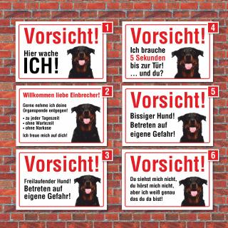 """Vorsicht """"Hier wache ich"""", Rottweiler, Hund, Schild,  3 mm Alu-Verbund"""