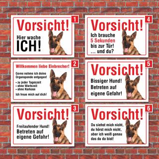 """Vorsicht """"Hier wache ich"""", Schäferhund, Hund, Schild,  3 mm Alu-Verbund"""