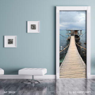 "Türtapete ""Hängebrücke über Meer"", Türposter, selbstklebend 2050 x 880 mm"