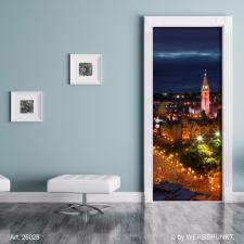 """Türtapete """"Stadt bei Nacht"""", Türposter, selbstklebend 2050 x 880 mm"""
